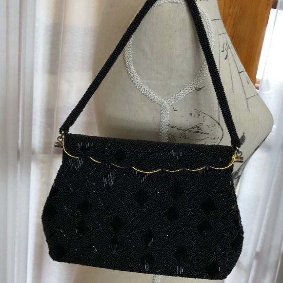 401babc5095aa 1950s Vintage Black BEADED Bag Clutch w Gold Trim.  M 5aa191b23800c5bc0ead84ed
